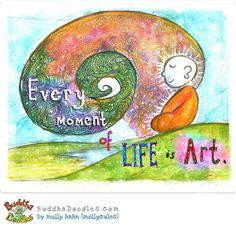An inspiring illustration from Molly Hahn of Buddha Doodles. Tiny Buddha, Little Buddha, Buddha Zen, Jiddu Krishnamurti, Buddha Thoughts, Positive Thoughts, Life Thoughts, Happy Thoughts, Buddah Doodles