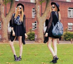 Oasap Skirt, Oasap Cardigan, Oasap Hat, Forever 21 Kiss Tee, Zero Uv Sunglasses, Choies Booties, C&A Backpack