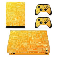 Abstract orange geometry Pattern xbox one X skin decal for console and 2 controllers