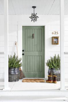 Pastel Green Paneled Front Door