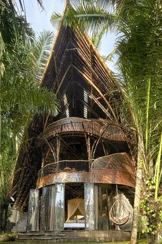 Interior designer and fashion veteran Elora Hardy returns home to Bali to craft a sustainable and inventive villa surrounded by nature. Bamboo House Bali, Bamboo House Design, Bamboo Architecture, Classical Architecture, Sustainable Architecture, Residential Architecture, Contemporary Architecture, Interior Architecture, Bamboo Structure