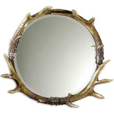 Stag Horn Round Wall Mirror ($378) ❤ liked on Polyvore featuring home, home decor, mirrors, antler home decor, round beveled mirror, round hanging mirror, circular mirrors and bone mirror