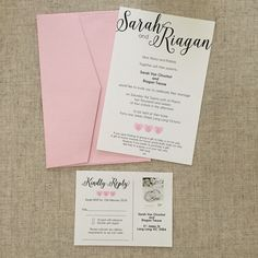Pink hearts invitation with matching acceptance card