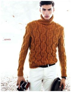 Men's Hand Knitted Wool Turtleneck Sweater 50B