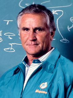 Don Shula, Dolphins Coach - 1970-95; Most career wins for a coach (347); 2 Super Bowl Titles (1972 & 1973); Only Perfect Season (17-0) in NFL history; First team to appear in 3 straight Super Bowls (1971,1972 & 1973); 5 Super Bowl appearances (1971, 1972, 1973, 1982 & 1984); Inducted into Pro Football Hall of Fame in 1997.