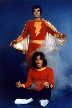 Jackson Bostwick as Captain Marvel and Michael Gray as Billy Batson from Filmation's live-action Shazam! TV series, Billy looks like he needs a haircut. Superman, Batman, Arnold Et Willy, Top Des Series, Tv Series, Mejores Series Tv, Cartoon Photo, Saturday Morning Cartoons, Old Shows