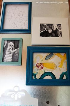 love this! empty and backless frames with magnets hot glued on the back. instant art holders for the fridge. going to use this for my favorite drawings from my students.