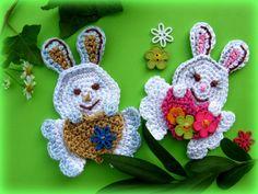 Heart Bunny Crochet Appliqué Pattern от CrochAnna на Etsy, $3.50