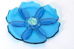 fused glass flower plate with overlapping petals