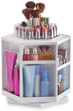 Keep your beauty products in a tidy, easy-to-use place with Lori Greiner's Spinning Cosmetic Organizer in White.
