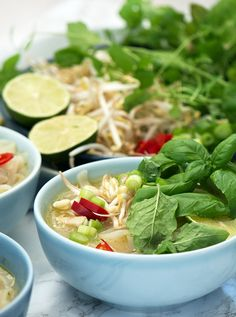 Pho Ga - delicious Vietnamese noodle soup with chicken recipe, Fall Recipes, Asian Recipes, Noodle Soup, Chicken Recipes, Recipe Chicken, Tapas, Noodles, Spinach, Sushi