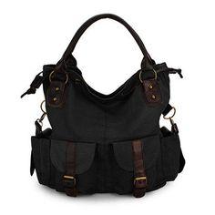 Women Multi-pocket Canvas Handbags Casual Crossboody Bag Leisure Shopping Shoulder Bags