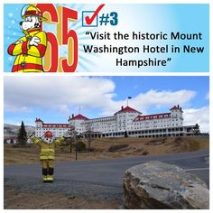 Sparky completes item 3 - visiting Mt Washington Hotel in Sparky The Fire Dog, Mount Washington Hotel, New Hampshire, Train, Education, Training, Educational Illustrations, Learning