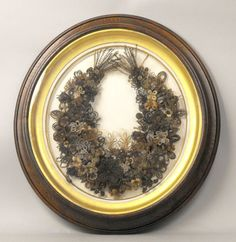 Antique Victorian Mourning Hair Wreath Large Gilt Frame Picture