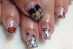 Betty Boop nails with lips, martini glass, and red high heel.