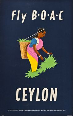 "Title: Fly BOAC, Ceylon. Poster released: United Kingdom, 1953. Artist: Aldo Cosomati. Producer: British Overseas Airways Corporation. Poster type: United Kingdom lithograph. Dimensions: 25"" x 39"" = 64 x 101cm."