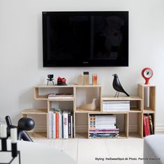 DIY TV table using boxes, could also use floating shelves