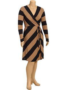 Women's Plus Striped Faux-Wrap Dresses Product Image