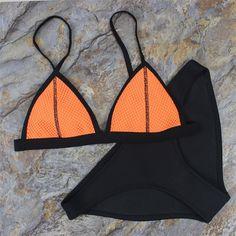 Women Mesh Neoprene Bikini Triangle Swimsuit Beach Swimwear