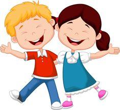 Cartoon момче и момиче карикатура