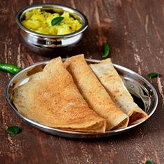 Savory Indian Buckwheat crepes (dosas). Vegan and gluten free, perfect for breakfast or for dinner.