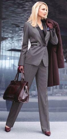 Grey pant suit, oxblood shoes, bag & coat - women's formal work wear