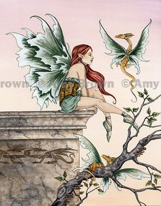 """""""Golden Dragons"""" ORIGINAL ART - Watercolor Paintings A - H - Amy Brown Fairy Art - The Official Gallery"""