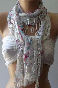 Elegance  Shawl / Scarf   Chiffon and lace by womann on Etsy, $19.90.  want it!!!