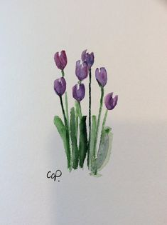 Purple Tulips Watercolor Card / Hand Painted Watercolor Card Simple elegant tulips! This is a 5x7 card. It is an original not a print. I have used ink and Watercolor on this card. I have painted it on heavy card stock 140*. Comes with a matching envelope in a protective sleeve.