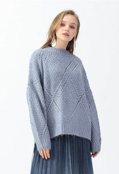 NEW LADIES DIPPED HEM OVERSIZE LONG SLEEVE STRETCH KNITTED JUMPER*6 COLOURS*SALE