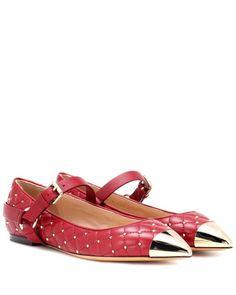 9711c8f9c7b Valentino - Red Rockstud Spike Ballerinas - Lyst Valentino Red