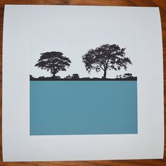 landscape print square petrol blue by the art rooms | notonthehighstreet.com