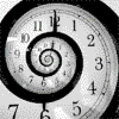 pixel art Travel in time tunnel travel clock black. white time by cesarloose piq