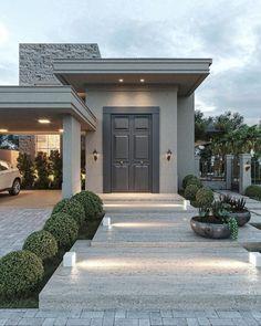Dream Home Design, Modern House Design, Villa Design, Beautiful Home Designs, Beautiful Homes, Modern Farmhouse Exterior, Farmhouse Decor, Dream House Exterior, House Entrance