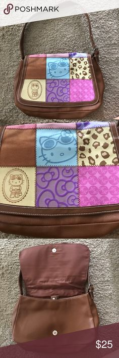 Hello Kitty Purse Adorable Hello Kitty Purse with patchwork design. Features snap closure and adjustable shoulder strap. Hello Kitty Bags Shoulder Bags