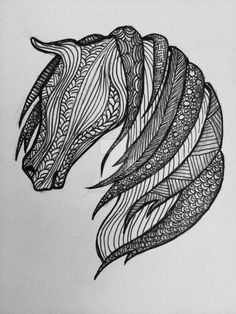 Zentangle patterned horse by AmandaRuthArt on DeviantArt✖️Fosterginger.Pinterest.Com.✖️More Pins Like This One At FOSTERGINGER @ Pinterest ✖️No Pin Limits✖️