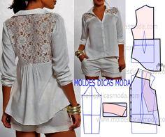 Faça a leitura da transformação do molde de blusa branca com renda com rigor antes de iniciar qualquer outro processo. Imprima o molde base de blusa e...