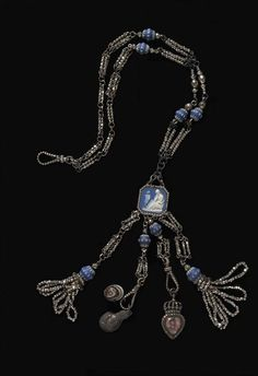blue jaasperware,silver,cut-steel beads and glass and white relief decoration,England,ca.1780-1800