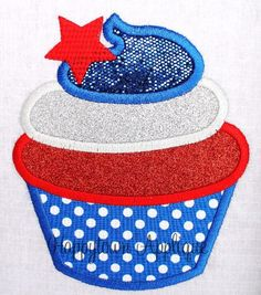 Patriotic Cupcake with Star Machine Embroidery Design