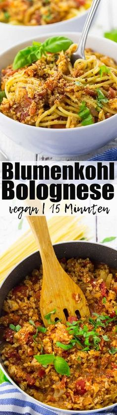 Vegane Bolognese aus Blumenkohl Have you ever tried cauliflower Bolognese? Currently one of my favorite Pasta recipes! Vegan and ready in only 15 minutes! Healthy recipes can be sooo delicious! You can find more vegetarian recipes veganheaven. Vegan Cauliflower, Cauliflower Recipes, Veggie Recipes, Pasta Recipes, Cooking Recipes, Healthy Recipes, Free Recipes, Italian Food Recipes, Low Calorie Vegetarian Recipes