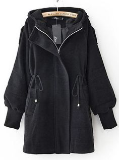 Black Trumpet Sleeve Drawstring Waist Hooded Woolen Coat US$44.59