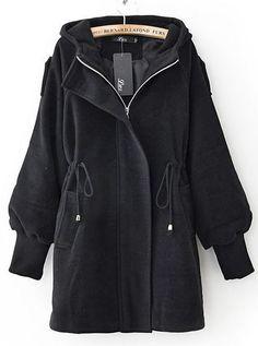 Abrigo+de+lana+con+capucha+manga+de+la+trompeta-Negro+US$44.59