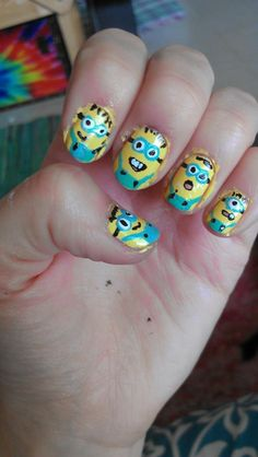 Minion nails Great Nails, Cool Nail Art, Fun Nails, Minion Nails, Minions, Paris Nails, T Baby, Dope Nails, Nail Games