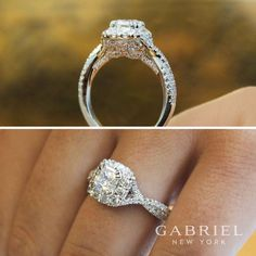 Gabriel - 14k White/Rose Gold Cushion Cut Halo Engagement Ring. This beautiful diamond wedding ring has almost a carat of diamond surrounding it.