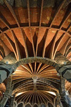 Guell Crypt. 1908-1914. Chapel in the Colonia Guell in Santa Coloma de Cervello (Catalonia, Spain). Antoni Gaudi.