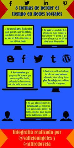 5 maneras de perder el tiempo en Redes Sociales #infografia #infographic #socialmedia