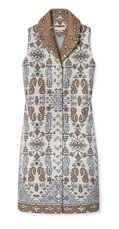 Jacquard Long Vest perfectly captures the Marrakech-meets-Chelsea inspiration of the season | Tory Burch Fall 2015