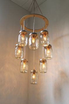 Valentines Day Heart Shaped Mason Jar Chandelier by BootsNGus, $200.00