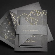 Invitation Card Design, Invitation Cards, Modern Wedding Invitations, Wedding Cards, Brochure Design Layouts, Geometry Pattern, Stationary Design, Foil Stamping, Starry Nights