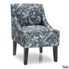 Marlow Bardot Swoop Accent Chair (Marlow Accent Chair Bardot Teal), Blue (Fabric)